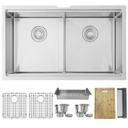 STYLISH S-601W 32 X 19 INCH STAINLESS STEEL DOUBLE BASIN UNDERMOUNT WORKSTATION KITCHEN SINK WITH CUTTING BOARD, GRIDS, STRAINERS AND COLANDER