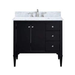 BELVEDERE BATH HE-R036S AVERY 36 INCH BLACK MODERN FREE-STANDING BATHROOM VANITY