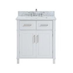 BELVEDERE BATH HE-H030S ISLA 30 INCH WHITE MODERN FREE-STANDING BATHROOM VANITY