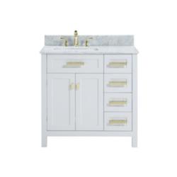 BELVEDERE BATH HE-A036SL CAPRI 36 INCH WHITE MODERN FREE-STANDING BATHROOM VANITY