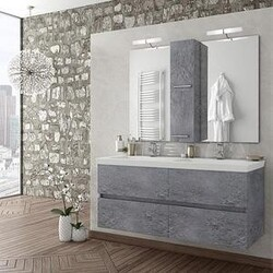 BELVEDERE BATH 1001LUXG48 ALEXANDER 48 INCH DOUBLE FLOATING VANITY WITH INTEGRATED PORCELAIN SINKS