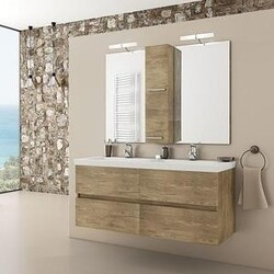 BELVEDERE BATH 1001LUXP48 SELENE 48 INCH DOUBLE FLOATING VANITY WITH INTEGRATED PORCELAIN SINKS