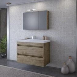 BELVEDERE BATH 1001LUXP34 ELENA 32 INCH FLOATING VANITY WITH INTEGRATED PORCELAIN SINK