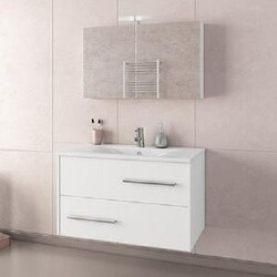 BELVEDERE BATH 1001FANW36 HERA 36 INCH FLOATING VANITY WITH INTEGRATED PORCELAIN SINK