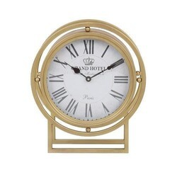 A TOUCH OF DESIGN TC1062947 RIPLEY 16 INCH STANDING DESK CLOCK IN GOLD METAL FINISH WITH ROMAN NUMERALS