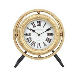 A TOUCH OF DESIGN TC1062961 LEVI 14.5 INCH STANDING DESK CLOCK IN BLACK AND GOLD METAL FINISH WITH ROMAN NUMERALS