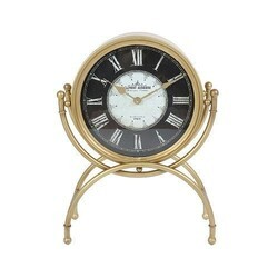 A TOUCH OF DESIGN TC1062978 DUBOIS 19.25 INCH STANDING DESK CLOCK IN GOLD METAL FINISH WITH GLASS WITH ROMAN NUMERALS