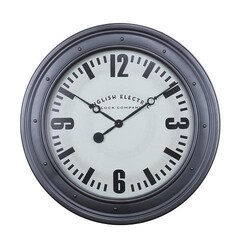 A TOUCH OF DESIGN WC1062954 BOND 31.5 INCH LARGE ENGLISH ELECTRIC WALL CLOCK WITH SILVER FRAME