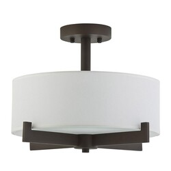 A TOUCH OF DESIGN GC8082N3 LEO SEMI-FLUSH MOUNT CEILING LIGHT WITH BLACK METAL FINISH WITH WHITE FABRIC SHADE