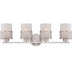 A TOUCH OF DESIGN GW1024N4 RYAN BRUSHED NICKEL BATHROOM VANITY LIGHT WITH WHITE GLASS SHADES