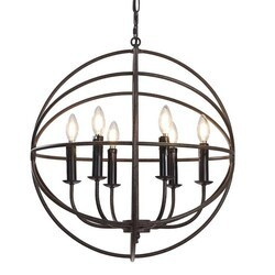 A TOUCH OF DESIGN GY5013-D6 DAYLEN LARGE 6-LIGHT WROUGHT IRON HANGING CHANDELIER WITH ADJUSTABLE CHAIN LENGTH