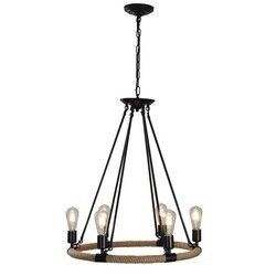 A TOUCH OF DESIGN GY8108-D6 GRAYSON ROPE AND WROUGHT IRON 6-LIGHT CHANDELIER ADJUSTABLE HEIGHT