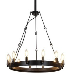 A TOUCH OF DESIGN GY5016-D12 KENDRICK BLACK IRON 12-LIGHT CHANDELIER WAGON WHEEL STYLE RUSTIC FARMHOUSE DESIGN