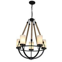 A TOUCH OF DESIGN GY8131-D5 ROWAN WROUGHT IRON AND NATURAL ROPE CHANDELIER BLACK METAL WITH ROPE ACCENTS WITH 5-LIGHT SHADES