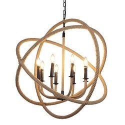 A TOUCH OF DESIGN GY8103-D8 CALLI LARGE RUSTIC ROPE AND IRON HANGING CHANDELIER WITH ADJUSTABLE HANGING CHAIN