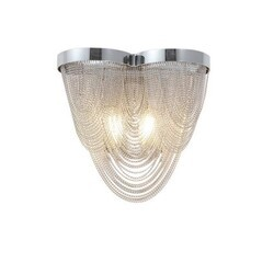 A TOUCH OF DESIGN AC3004-2W WALDORF CHROME AND SILVER WALL SCONCE LIGHT FEATURING IRON FRAME AND SILVER MESH CHAIN