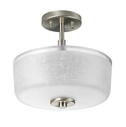 A TOUCH OF DESIGN GC7897N3-SN DORA LARGE 3-LIGHT SEMI-FLUSH MOUNT CEILING LIGHT FIXTURE WITH BRUSHED SATIN NICKEL WITH TEXTURED GLASS