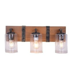 A TOUCH OF DESIGN WTY495-3 HUDSON WOOD AND METAL RUSTIC FARMHOUSE BATHROOM VANITY 3-LIGHT FIXTURE