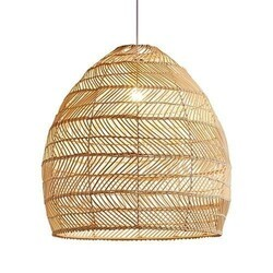 A TOUCH OF DESIGN CL1016252 MONTEREY NATURAL RATTAN DOME PENDANT LIGHT ON ADJUSTABLE CABLE
