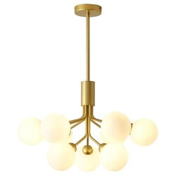 A TOUCH OF DESIGN CL1012466 ASTORIA BRASS IRON CHANDELIER WITH FROSTED GLASS GLOBE SHADES