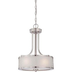 A TOUCH OF DESIGN GP1030N3 RYAN HANGING CHANDELIER LIGHT FIXTURE WITH SATIN NICKEL FINISH FEATURING METAL WIRE MESH SHADE