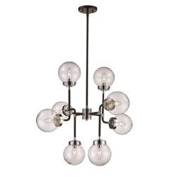 A TOUCH OF DESIGN GP7869N8 ZARA METAL INDUSTRIAL 8-LIGHT CHANDELIER WITH GLASS GLOBE SHADES