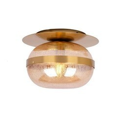 A TOUCH OF DESIGN CL1012411 NOVA FLUSH MOUNT BRASS METAL CEILING LIGHT WITH AMBER RAINDROP GLASS SHADE