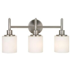 A TOUCH OF DESIGN GW6076N3 MILLIE LARGE 3-LIGHT BATHROOM VANITY LIGHT WITH SATIN NICKEL AND WHITE GLASS SHADE VANITY SCONCE