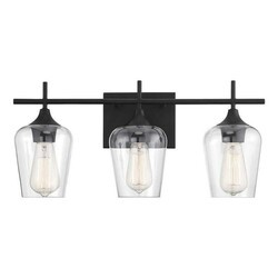 A TOUCH OF DESIGN GW5098N3 EMMA LARGE BLACK METAL 3-LIGHT BATHROOM VANITY LIGHT WITH CLEAR GLASS SHADES VANITY SCONCE