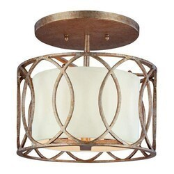 A TOUCH OF DESIGN GC6007N3 LAURYN CLASSIC SEMI-FLUSH MOUNT CEILING LIGHT WITH WROUGHT IRON FEATURING A SILVER GOLD FINISH