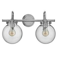 A TOUCH OF DESIGN GW6031N2 TAFT 2 LIGHT BATHROOM VANITY LIGHT WITH CLEAR GLASS GLOBE SHADES