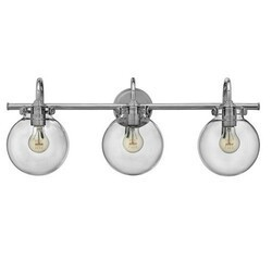 A TOUCH OF DESIGN GW6032N3 TAFT 3 LIGHT BATHROOM VANITY LIGHT WITH CLEAR GLASS GLOBE SHADES