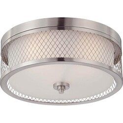 A TOUCH OF DESIGN GC1028N3 RYAN LARGE FLUSH MOUNT CEILING LIGHT FIXTURE WITH SATIN NICKEL FINISH FEATURING WIRE MESH SHADE