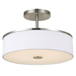 A TOUCH OF DESIGN GC9071N3 LARGE 3-LIGHT SEMI-FLUSH MOUNT CEILING LIGHT FIXTURE WITH SATIN NICKEL AND WHITE FABRIC SHADE HANGING LIGHT