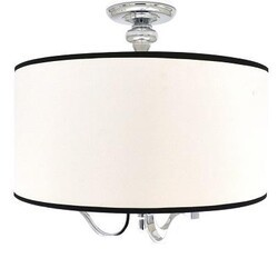 A TOUCH OF DESIGN GC9938N3 TARYN LARGE 3-LIGHT SEMI-FLUSH MOUNT CEILING LIGHT FIXTURE WITH CHROME AND WHITE FABRIC WITH BLACK TRIM