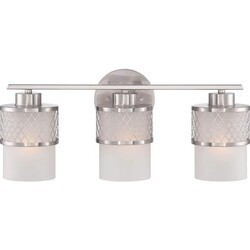 A TOUCH OF DESIGN GW1023N3 RYAN LARGE 3-LIGHT BRUSHED NICKEL BATHROOM VANITY LIGHT WITH WHITE GLASS SHADES WITH SILVER WIRE DESIGN