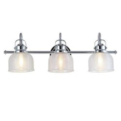 A TOUCH OF DESIGN GW3271N3 RUSNAK LARGE CHROME AND GLASS 3-LIGHT BATHROOM VANITY LIGHT, TRADITIONAL SILVER METAL WITH TEXTURED GLASS SHADES VANITY SCONCE