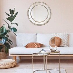 A TOUCH OF DESIGN MR1062794 BECKET 26 INCH ROUND MIRROR WITH DOUBLE WOOD CIRCLE FRAME