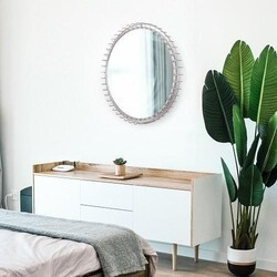 A TOUCH OF DESIGN MR1062787 SLATE 29 INCH ROUND MIRROR WITH WIRED METAL FRAME