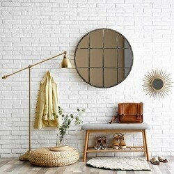 A TOUCH OF DESIGN MR1062824 MONTROSE LARGE 36 INCH ROUND WINDOWPANE MIRROR WITH BRONZE METAL FINISH