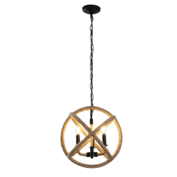 A TOUCH OF DESIGN GY8103-D3 CALLI 3-LIGHT NATURAL ROPE ORB STANDARD PENDANT LIGHT