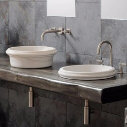 STONE FOREST C130 LBO CERNE 17 INCH ABOVE COUNTER OR SEMI-RECESSED BATHROOM SINK - LUNA BIANCA ORO MARBLE