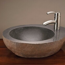 STONE FOREST C26-FCT NATURAL 18 INCH TO 22 INCH VESSEL BATHROOM SINK WITH FAUCET MOUNT - GRAY GRANITE