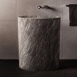 STONE FOREST C60D CG INFINITY 30 INCH PEDESTAL BATHROOM SINK - CUMULO GRANITE