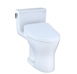 TOTO MW8563056CEMGA#01 ULTRAMAX WASHLET+ ONE-PIECE ELONGATED DUAL-FLUSH 1.28 AND 0.8 GPF DYNAMAX TORNADO FLUSH TOILET WITH AUTO FLUSH S550E BIDET SEAT IN COTTON WHITE