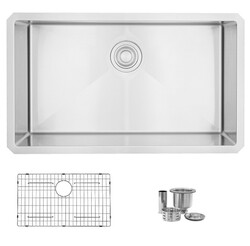 STYLISH S-323XG SINGLE BOWL UNDERMOUNT 16 GAUGE STAINLESS STEEL KITCHEN SINK WITH GRID AND STRAINER