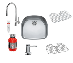 FRANKE D-BOWL COMBO PACK 4 WITH SINK, FAUCET, WASTE DISPOSER, SOAP DISPENSER, 2 BOTTOM GRIDS AND INOX CREAM