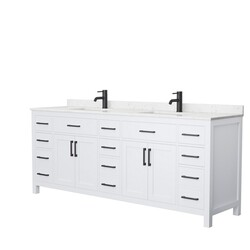 WYNDHAM COLLECTION WCG242484DWBCCUNSMXX BECKETT 84 INCH DOUBLE BATHROOM VANITY IN WHITE WITH CARRARA CULTURED MARBLE COUNTERTOP, UNDERMOUNT SQUARE SINKS AND MATTE BLACK TRIM