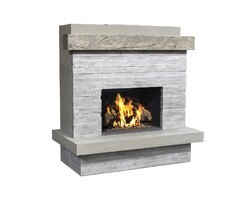AMERICAN FYRE DESIGNS 050-CG-N-SP-RBC 68 1/2 INCH VENTED WALL MOUNT OUTDOOR BROOKLYN FIREPLACE - SILVER PINE