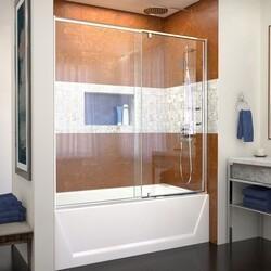 DREAMLINE SHDR22605800 FLEX 56-60 W X 58 INCH SEMI-FRAMELESS PIVOT TUB DOOR